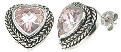 925 Sterling Silver Rhodium Finish Simulated Lavender Heart Antique Style Earrings - LaRaso & Co