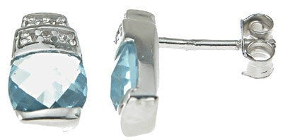 925 Sterling Silver Rhodium Finish Simulated Topaz Crystal Cushion Cut Fashion Earrings - LaRaso & Co