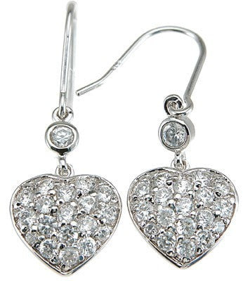 925 Sterling Silver Rhodium Finish CZ Heart Fashion Earrings - LaRaso & Co