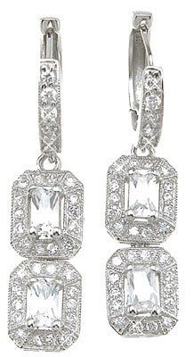 925 Sterling Silver Rhodium Finish Emerald Cut Antique Style Pave Earrings - LaRaso & Co