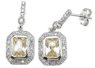 925 Sterling Silver Rhodium Finish Emerald Cut Tiffany Style Pave Earrings - LaRaso & Co