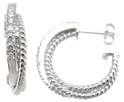 925 Sterling Silver Rhodium Finish Brilliant Hoop Pave Earrings - LaRaso & Co
