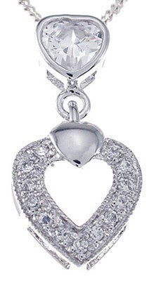 925 Sterling Silver Platinum Finish Antique Style Pave Heart Pendant - LaRaso & Co
