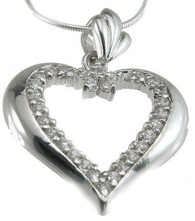 925 Sterling Silver Rhodium Finish Heart Fashion Pendant - LaRaso & Co