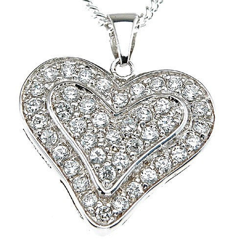 925 Sterling Silver Rhodium Finish Heart Fashion Pave Pendant - LaRaso & Co