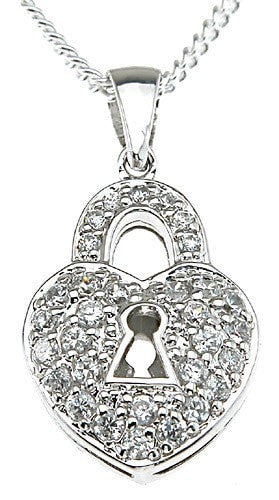 925 Sterling Silver Rhodium Finish Lock Fashion Pave Pendant - LaRaso & Co