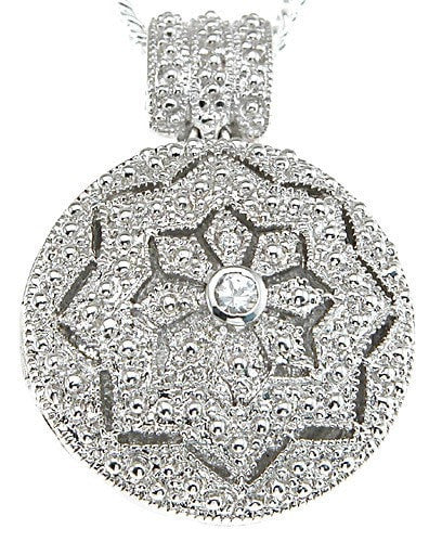 925 Sterling Silver Rhodium Finish Locket Antique Style Pave Pendant - LaRaso & Co
