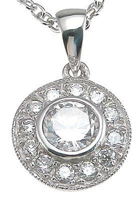 925 Sterling Silver  CZ Antique Style Pave Pendant - LaRaso & Co
