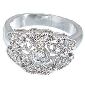 Stunning Sterling Silver Antique Style CZ Promise Ring