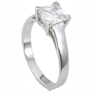 CZ Princess Cut Solitaire Engagement Ring