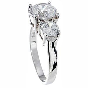 High Quality Brilliant CZ 3 Stone Engagement Ring