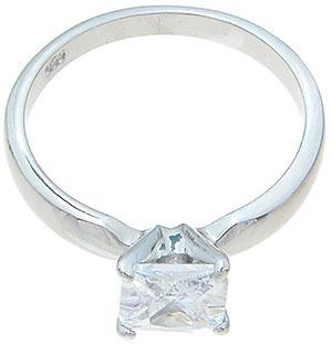 Sterling Silver Cubic Zirconia CZ Princess Solitaire Engagement Ring