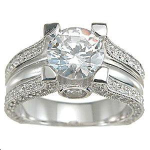 Vintage Solitaire CZ Engagement Ring in Sterling Silver