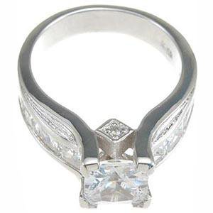 Sterling Silver 2 Carat Princess Cut CZ Engagement Ring