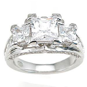 Sterling Silver Cubic Zirconia CZ Princess Cut Engagement Ring