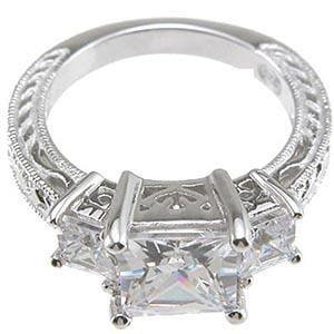 Cubic Zirconia Princess Cut Engagement Ring