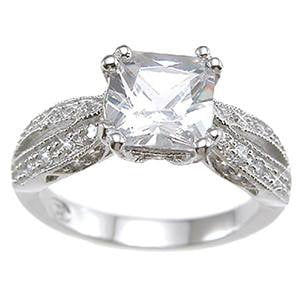 Princess Cut High End CZ Engagement Ring