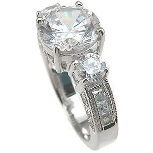 3 Stone Cubic Zirconia Engagement Ring Sterling Silver