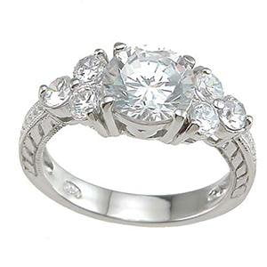 High Quality Silver CZ Engagement Ring