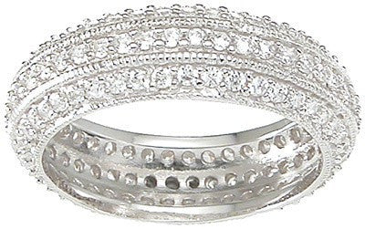 Cubic Zirconia Sterling Silver Eternity Ring - LaRaso & Co - 1