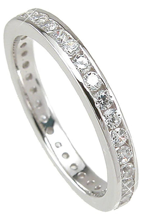 Sterling Silver Eternity Anniversary CZ Wedding Band Ring for Women Size 5