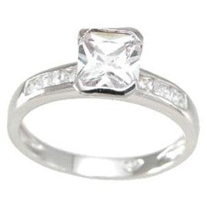 CZ  Emerald Cut Engagement Ring