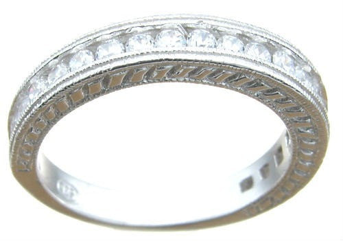 Sterling Silver Cubic Zirconia Antique Style Wedding Band - LaRaso & Co - 1