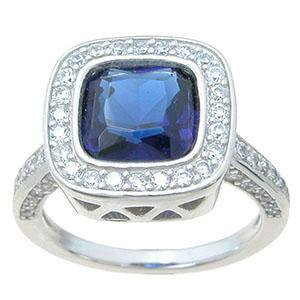 925 Sterling Silver simulated sapphire ring - LaRaso & Co - 1