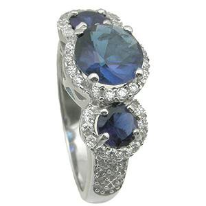 925 Sterling Silver simulated sapphire wedding ring