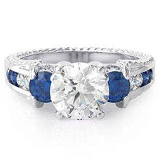 Blue CZ Engagement Ring