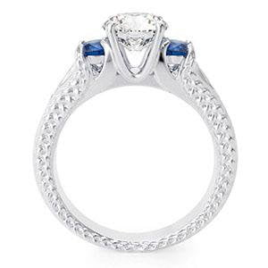 Sterling Silver 3 Stone White Blue Sapphire CZ Engagement Ring
