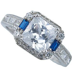 Vintage Simulated Sapphire CZ Silver Engagement Ring for Women