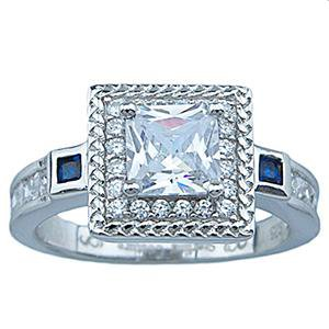 Sterling Silver Princess Cut Cubic Zirconia Engagement Ring 2.2 CTW
