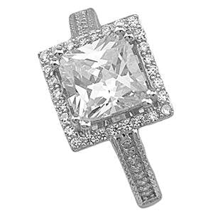 Sterling Silver Square Cubic Zirconia CZ Halo Engagement Ring Princess Cut