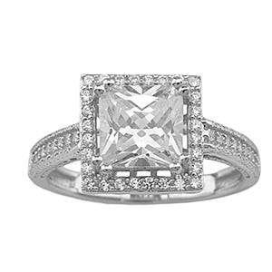 Vintage Style CZ Engagement Ring for Women