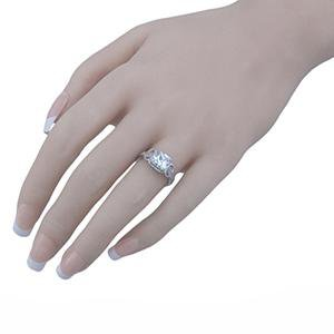Princess Cut Infinity Setting Silver CZ Engagement Ring