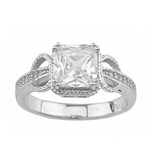 Unique Cubic Zirconia Huge 2 Carat Princess Cut Engagement Ring