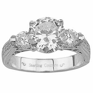 Vintage Style 3 Stone CZ Silver Engagement Ring