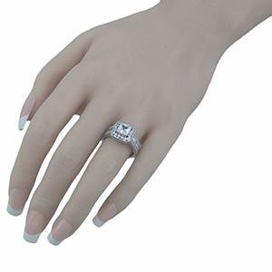 Sterling Silver Square Halo CZ Engagement Ring