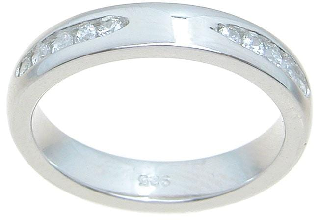 Womens Sterling Silver CZ Wedding Band Ring