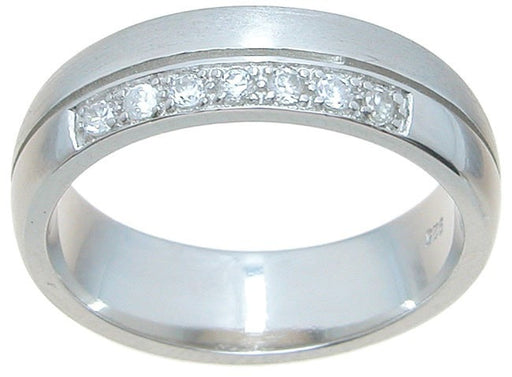 Men's CZ Sterling Silver Wedding Band