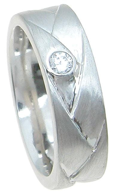 Mens CZ Sterling Silver Wedding Band