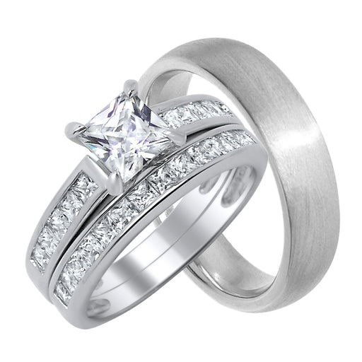 Sterling Silver His and Hers Wedding Rings Set