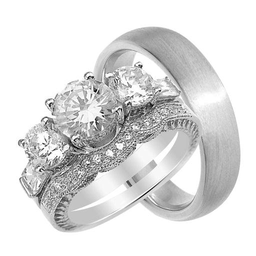 His and Her Wedding Rings Set Sterling Silver Her Ring 3 Stone Style