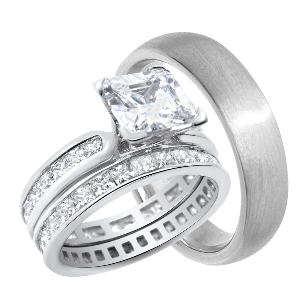 His and Her (Princess Cut) Trio Wedding Rings Set Sterling Silver Wedding Bands