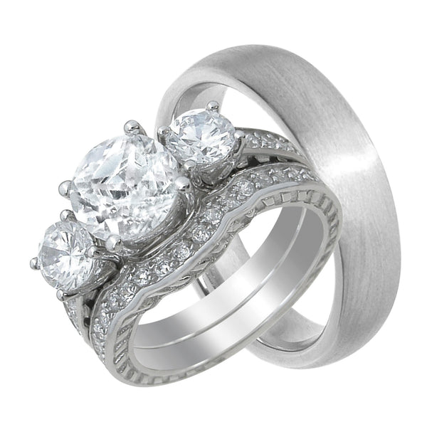 3.5 Carat TW CZ His Her Matching Wedding Ring Set
