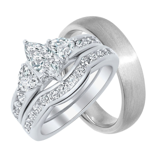 His and Her Sterling Silver 3 Piece Wedding Ring Band Set
