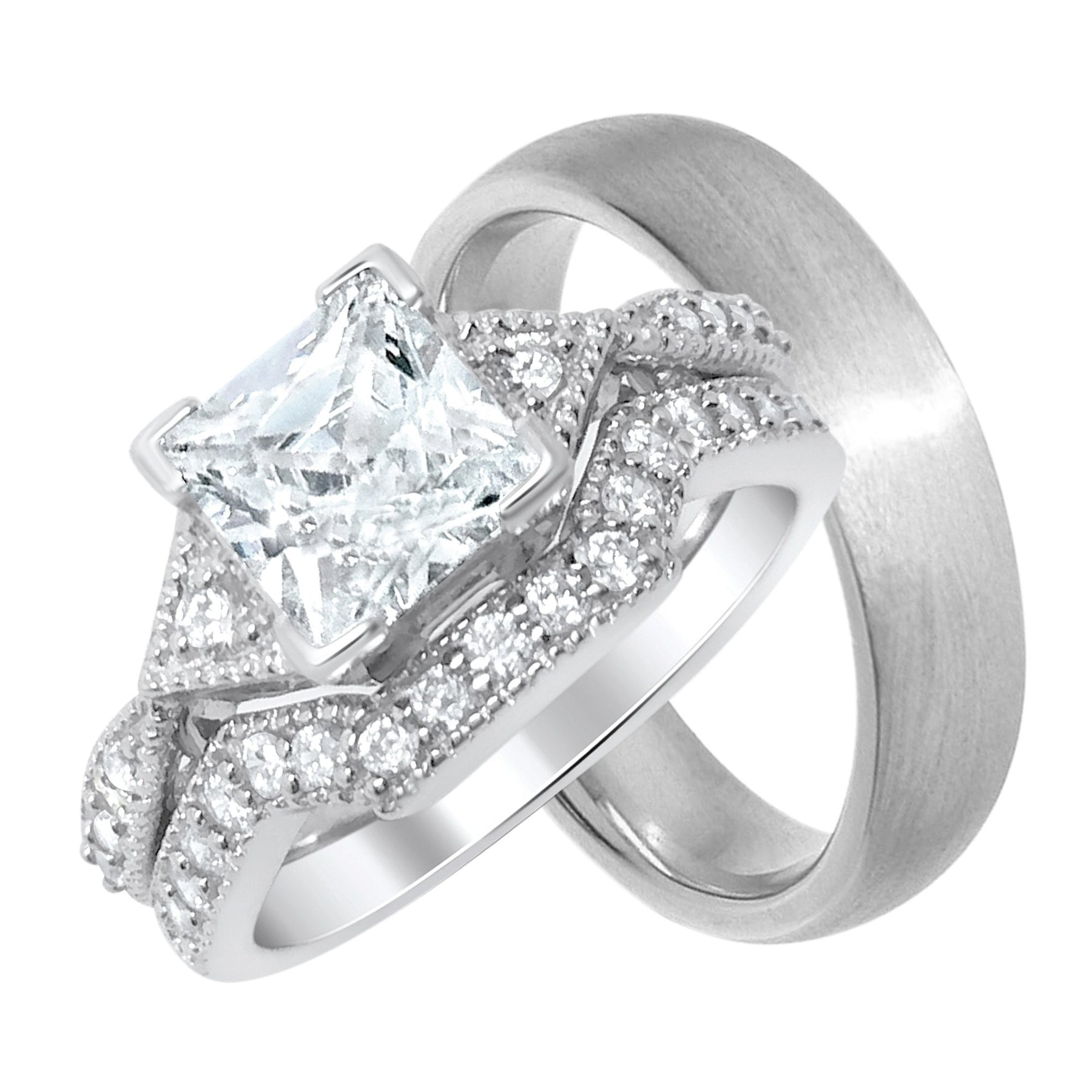 His And Hers Affordable Wedding Rings Set Looks Real Not Cheap