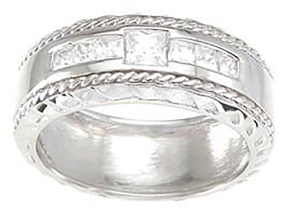 His and Her Three Stone Wedding Rings Set Sterling Silver