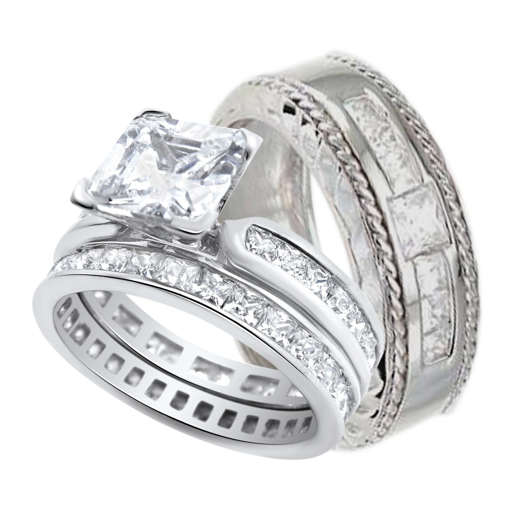 Him and Her Wedding Rings Set Sterling Silver Wedding Bands His